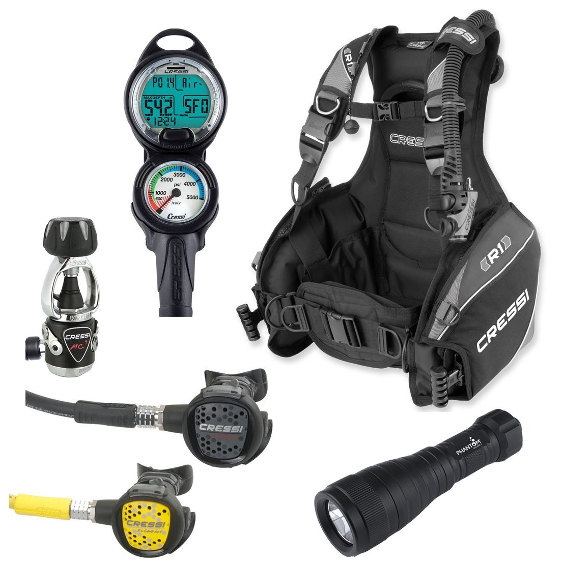 Cressi r1 bcd scuba gear package video review for for Scuba dive equipment