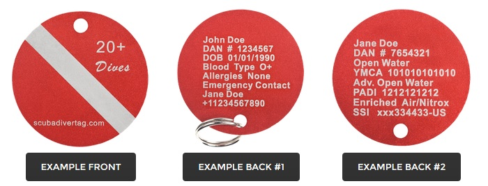 Scuba Diver Tags For Diver Safety