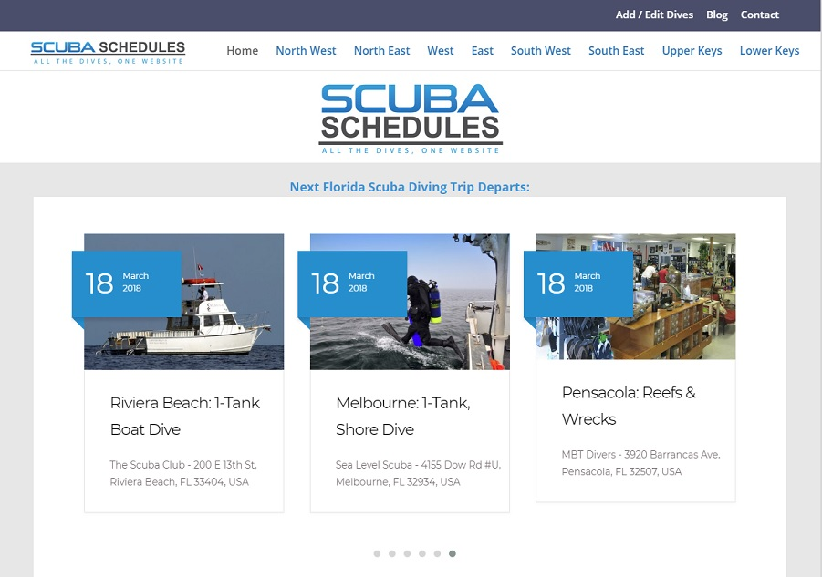 Scuba Schedules - All The Dives, One Website